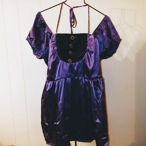 🆕 Torrid Plus 1X Purple Satin Babydoll Top Shirt
